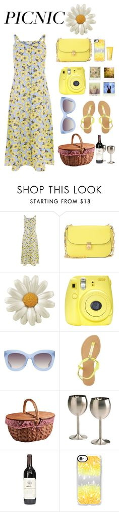 """""""Picnic in the Park"""" by l-u-natic ❤ liked on Polyvore featuring Warehouse, Valentino, Fuji, Polaroid, Alice + Olivia, Charlotte Russe, Picnic Time, rsvp, Casetify and Clinique"""
