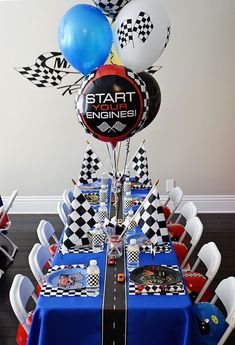 Start your engines guest table from a Race Car Birthday Party on Karas Party Id