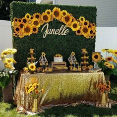 🌻 Sunflower🌻 Bridal Shower Dessert Table & Grass Wall Set with Sunflower Decorations For Party - Best Home & Party Decoration Ideas Backyard Party Decorations, Birthday Decorations, Baby Shower Decorations, Wedding Decorations, Sunflower Decorations, Sunflower Party Themes, Wedding Centerpieces, Yellow Party Decorations, Candy Centerpieces