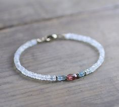 Beaded Moonstone Bracelet with Aquamarine & Faceted Garnet