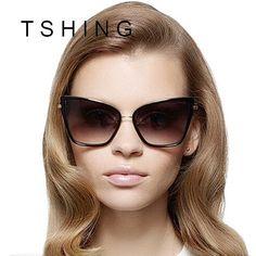 TSHING 2017 New Cat Eye Sunglasses Women Fashion Metal Frame Cateye Mirror Sun Glasses Brand Designer Vintage Men Oculos UV400