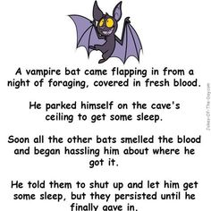 A vampire bat is covered in blood... - clean, Jokes