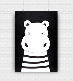 Stylish and modern hippo illustration. Black and by GraphicCorner