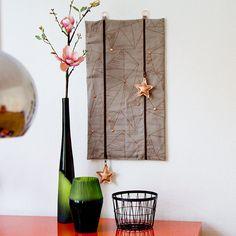 Mein selbst genähter DIY Adventskalender aus Baumwollcanvas mit Endlosreißverschluss und Sternen aus Kupfer Kunstleder