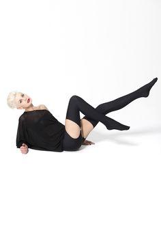 Matte Black Suspender Pantyhose
