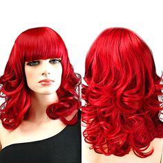 Elegant Victorian Fire Red Corkscrew Curls 50cm Punk & Gothic Lolita Wig