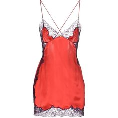 Versace Slip (320 TND) ❤ liked on Polyvore featuring dresses, lingerie, coral, versace dress, red lace dress, red slip dress, deep v-neck dresses and slip dresses