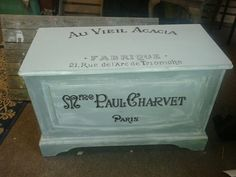 wonderful chest, freshend up and sign written   sold