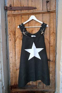 DESIGN YOUR OWN STARS, Tähtitunika Musta/Valkoinen - Pellavatunikat - By Pia's Design