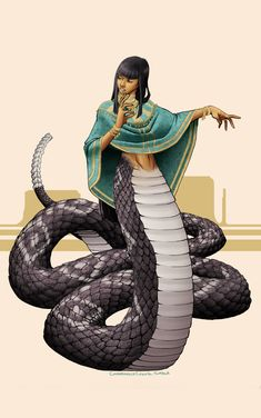 Naga - an ancient race of semi divine serpent creatures beings first depicted in ancient Vedic Hindu mythology and oral folklore from at least 5000 B. They are extremely gifted shape-shifter, able to assume any shape they desire. Colourised by Pearse. Character Inspiration, Character Art, Character Design, Monster Girl, Magical Creatures, Fantasy Creatures, Yuan Ti, World Mythology, Myths & Monsters