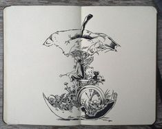 For apple core hourglass painting: Moleskine art by Gabriel Picolo Tattoo Drawings, Cool Drawings, Body Art Tattoos, Tattoo Illustrations, Sun Tattoos, Stylo Art, Bild Tattoos, Pen Art, Art Sketchbook