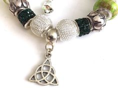 Green and Silver European Style Charm Bracelet With by Gallarena