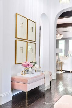 Entryway update blush bench intaglio art #entry #entryway #entrywaydecor #entrywaydesigns #homedecor #decor #interiordecor #interiors #interiordesign Decorating Your Home, Interior Decorating, Console, Sliding Door Design, Interior Styling, Interior Design, Entry Way Design, Entryway Decor, Entryway Ideas
