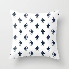 Navy blue and white maritime sea fish pattern Throw Pillow