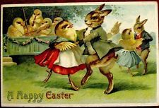 German Clapsaddle Dressed Rabbits & Chicks Dancing Postcard