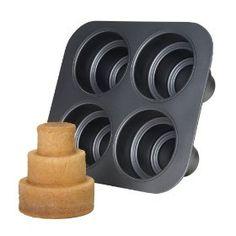Chicago Metallic Multi Tier Cake Pan 4 Cavity, x x Inch. For making mini three-tiered cakes!