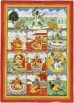 Kali Hindu, Hindu Art, Infinite Art, Handwritten Text, Hindu Deities, Hinduism, School Painting, Tibetan Art, Durga Goddess