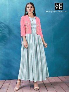 diy dwelling Trendy Blue Handloom Kurti With Pink Jacket- Diwali Clothes Diwali Dresses, Diwali Outfits, Unusual Dresses, Simple Dresses, Kurti With Jacket, Fancy Kurti, Diwali Sale, Online Shopping Sarees, Signature Look