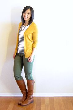 Fashion 99 Creative Mustard Pants Outfit Ideas What Is a Proper Wedding Gift? Mustard Cardigan Outfit, Yellow Cardigan Outfits, Yellow Pants Outfit, Casual Skirt Outfits, Fall Outfits, Cute Outfits, Fashion Outfits, Work Outfits, White Cardigan