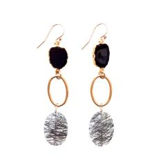 Black Onyx, Gold Hoop & Tourmalinated Quartz Earrings  www.meredithjackson.com