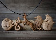 Hand Carved Wooden Pendants by Giles Newman Wood Carving Designs, Wood Carving Patterns, Wood Carving Art, Bone Carving, Wooden Necklace, Wooden Jewelry, Wooden Art, Wooden Crafts, Carved Wooden Animals