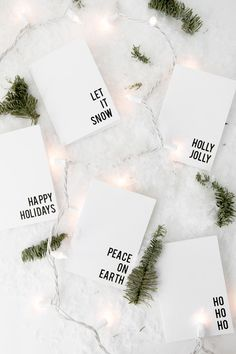 87 Free Printable Christmas Cards to Send This Holiday Season: Free Printable Minimalist Christmas Cards from The Beauty Dojo Free Printable Christmas Cards, Diy Christmas Cards, Noel Christmas, Printable Cards, Xmas Cards, White Christmas, Holiday Cards, Christmas Crafts, Christmas Ideas