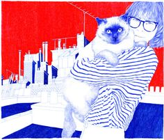Carine Brancowitz - woman and cat - ballpoint pen art