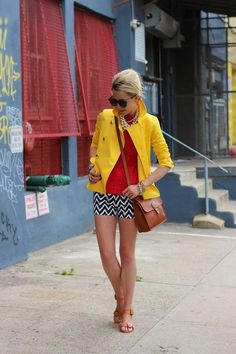 Cute, yellow jacket, red shirt, blue and white shorts