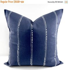 Vintage Indigo and White in Carlo dotted stripe Print Pillow Cover Sham pillow case. Cushion cover. 1 piece. If you need sizes that is not in my list just let me know. Give your home an INSTANT MAKEOVER just by changing the pillows! Our pillow covers are SLIPCOVERS for your pillows! They can be slipped on a pillow you already have or over a pillow purchased from any craft store or online.   COVERS: →Same fabric on front and back → Envelope closure →Double stitched all hems →Triple stitched o...