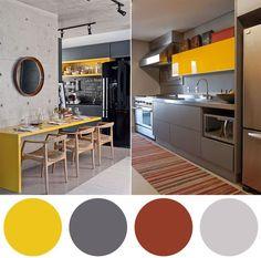 cozinhas em cinza e amarelo
