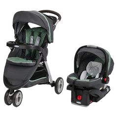 """Graco Fast Action Fold Sport Click Connect Travel System Stroller - Greenhill - Graco  - Babies""""R""""Us"""