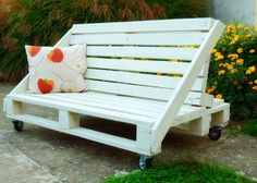 Pallets bench sofa. Just needs an outdoor cushion!