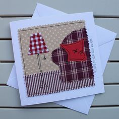 New Home Card - Handmade Original Textile Card - Machine Embroidered - Cosy Red Sofa - Personalised Insert - Welcome to your cosy new home New Home Cards, House Of Cards, Textiles, Unicorn Birthday Cards, Housewarming Card, Card Machine, Fabric Cards, Miss You Cards, Get Well Cards