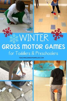 Burn energy while building a variety of important skills with these fun winter gross motor activities! Burn energy while building a variety of important skills with these fun winter gross motor activities! Toddler Gross Motor Activities, Christmas Activities For Toddlers, Weather Activities, Movement Activities, Preschool Learning Activities, Indoor Activities, Sensory Activities, Infant Activities, Christmas Games