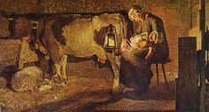 LE DUE MADRI (1889)  Giovanni Segantini  (1858 - 1899)    Altri titoli: Effetto di lanterna, Interno di stalla  Galleria d'Arte Moderna di Milano  Tela cm. 157 x 280