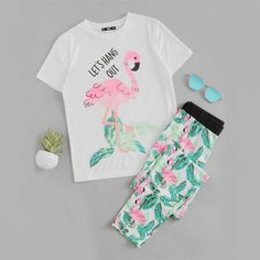 Cute Pink Flamingo Jungle Leaf Print Pajama Set - Just Pink About It - Everybody loves PINK flamingos. Find PINK flamingo products including flamingo print apparel for women, flamingo print home decor, phone accessories, and more.
