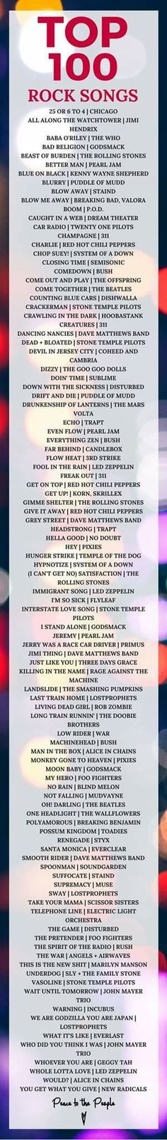 I wouldn't consider all of these as rock songs, and I don't like all of them.  But, there are a lot of good ones.