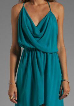 turquoise sundress | Indah Rinjani Draped Back Sundress in Turquoise in (turquoise) - Lyst