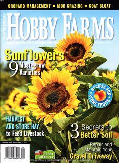 Sunflower photos on cover of Hobby Farms magazine July/Aug 2012 Sonnenblumenfotos auf dem Cover des Hobby Farms Magazins Juli / Aug 2012 Gravel Driveway, Hobby Farms, Livestock, Farmer, Cover, Harvest, Magazines, Sunflowers, Ideas
