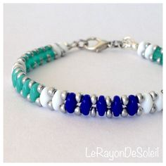 Bracelet green blue and white two holed Czech by LeRayonDeSoleil, €14.00