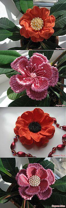 Цветы вязанные тунисской техникой - схемы и мк.