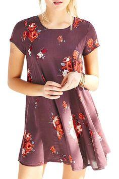 Flower Print Jewel Neck Short Sleeve Dress