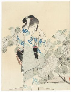 Fuji Arts Japanese Prints - Beauty with Hydrangeas Kuchi-e Print by Toshimine (1863 - 1934)