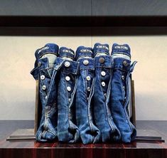 """TOM FORD, New York, """"Like bookends, we have learned to support The Blue Jean Line Up"""", pinned by Ton van der Veer Spring Window Display, Fashion Window Display, Clothing Store Interior, Clothing Store Displays, Denim Display, Shoe Display, Denim Studio, Denim Vintage, Denim Art"""