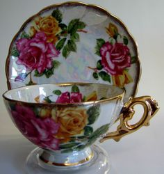 Antique Royal Sealy Fine China Porcelain Lusterware Decorative Teacup and Saucer