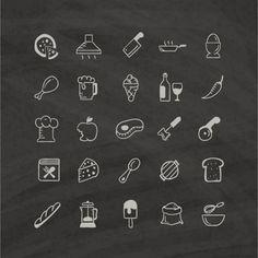 ícones brancos de alimentos em um fundo preto