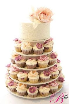 Image result for simple wedding cakes with cupcakes