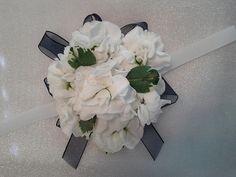 Wrist corsage of all white stock blossoms Designed By: hillside-consultants.com Wedding Corsages, Wrist Corsage, All White, Blossoms, Floral Wreath, Wreaths, Design, Decor, Wristlet Corsage