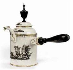 A Dutch porcelain 'encre-de-chine' chocolate pot and cover