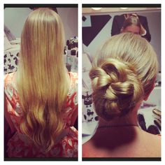DIY Updo | Blowdry! Blowdry Bar Low ponytail, then braid it. Wrap the braid around the base, pulling it apart. Pin it in an interesting shape with bobby pins.